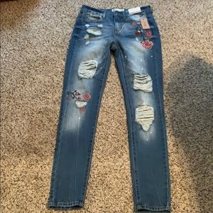 Embroidered jeans with holes size 3